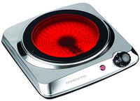 "Ovente Countertop Infrared Burner 1000W 7"" Ceramic Glass Single Plate Cooktop US"