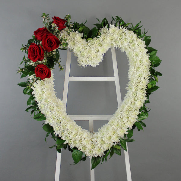 Asymmetrical Open Heart standing wreath