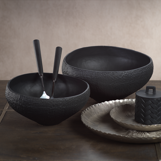 Mara Sand Organic Ceramic  Black Large Bowl