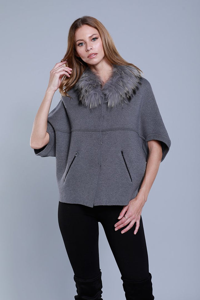 Dolce Cabo Grey Knit Caplet Faux Fur Collar