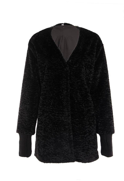 Dolce Cabo Black Faux Fur Car Coat