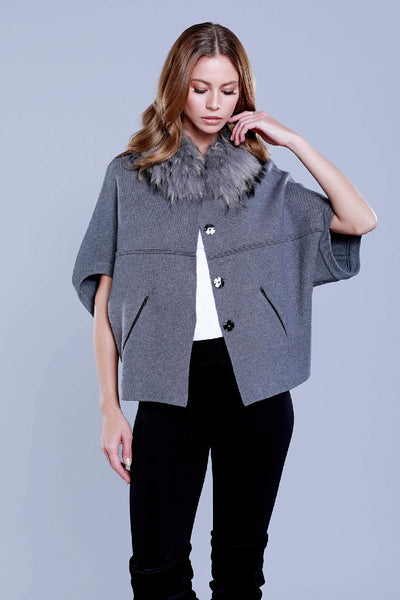 Grey Sweater with Detachable Collar