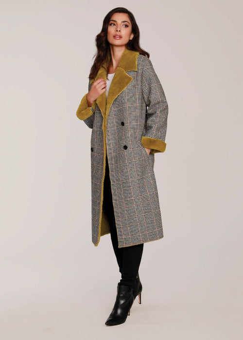 Dolce Cabo Black & Mustard Double Breasted Coat