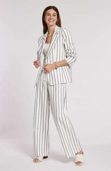 Tyler Boe Copper Cotton Linen Striped Blazer
