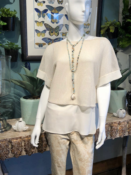 Conrad C mesh PopOver in Cream Gold with Print Jeans