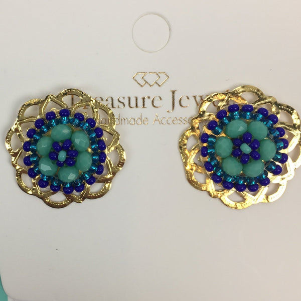 Treasured Jewels Beaded Earrings - Floral Stud
