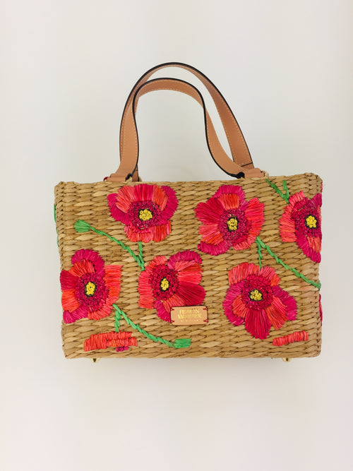 Woven Basket Tote with Spring Flowers
