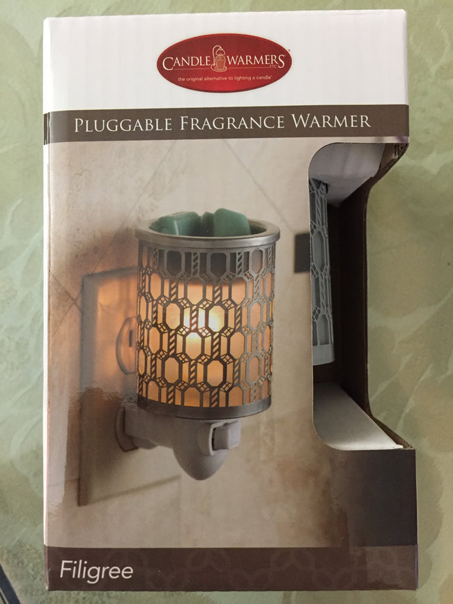 Pluggable Fragrance Warmer-Pewter Filigree