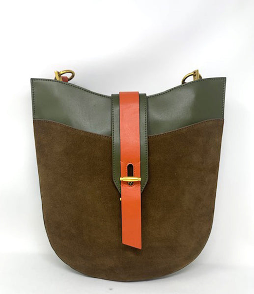 INZI Green Suede and Leather Bag
