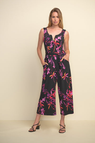 Tropical Print Sleeveless Jumpsuit - 211112