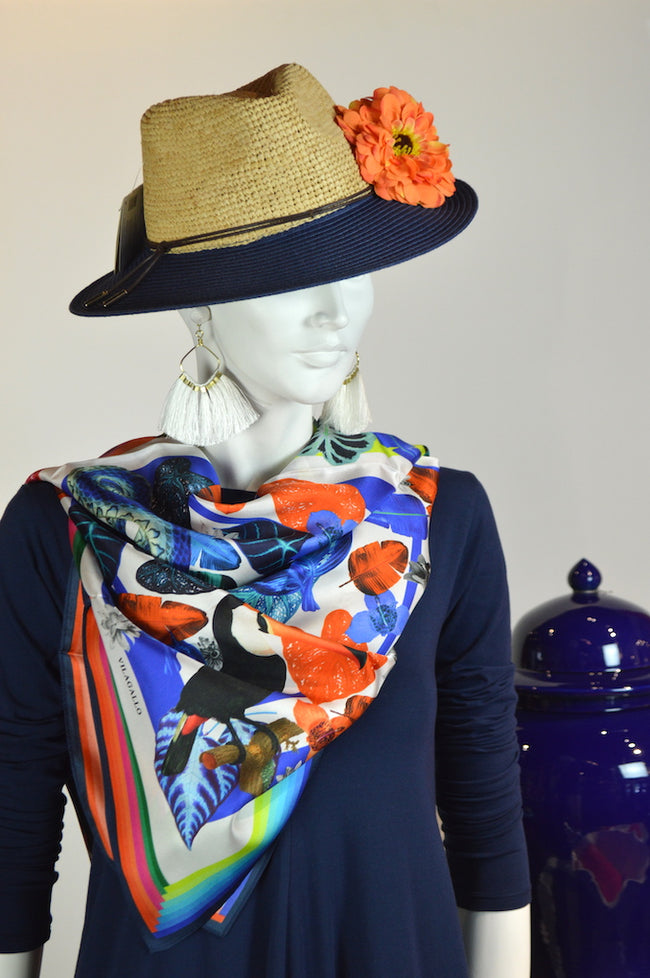 Navy dress with hat and scarf