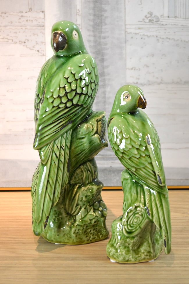 Green Ceramic Parrot Small