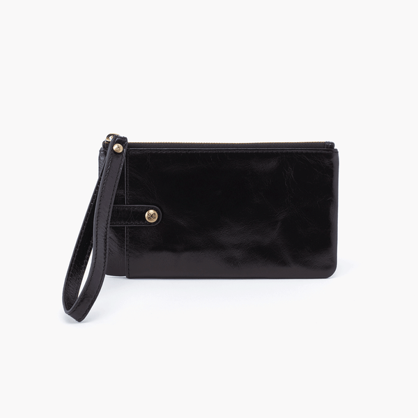 King Wristlet in Black Leather