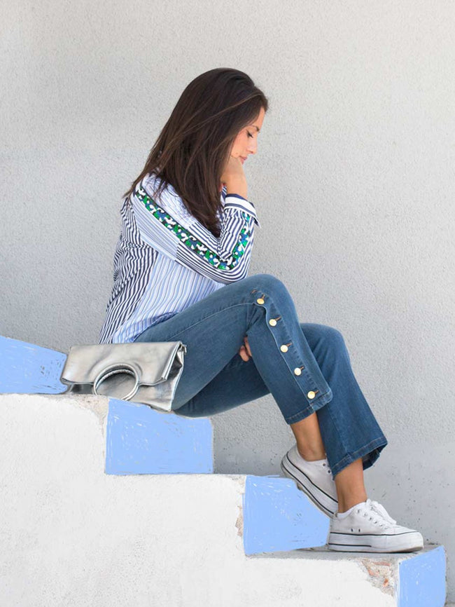 Vilagallo Mafalda Shirt Navy Stripes