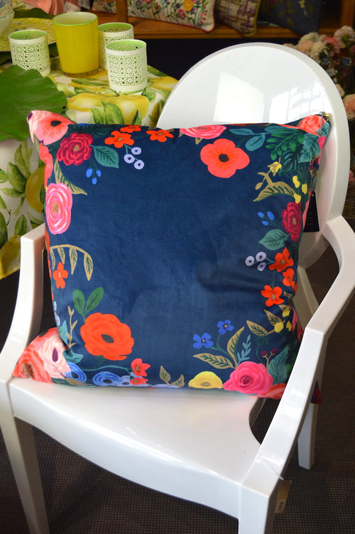 Pillow Navy Ring of Posies