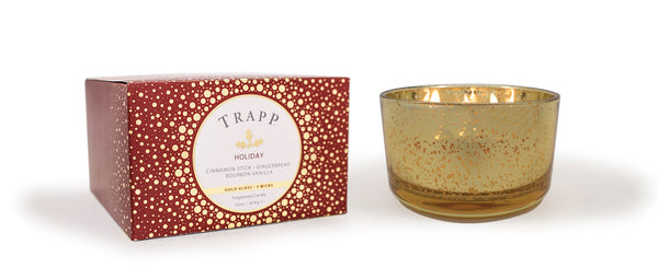 Trapp Holiday 16oz. 3 Wick Gold Glass Candle