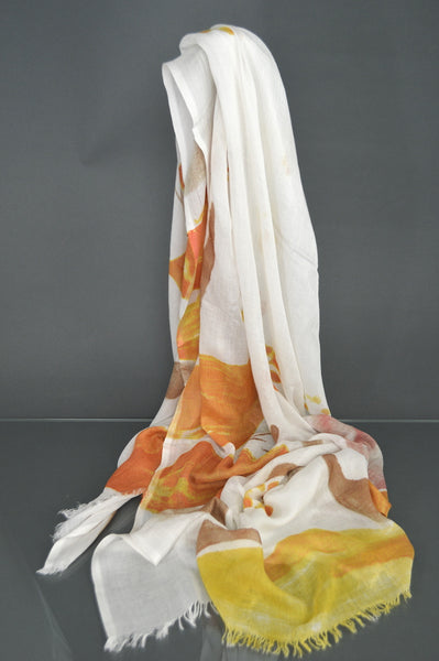 Abstract Design White Scarf