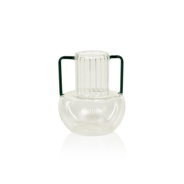 Zodax Vetro Optic Glass Vase w/Green Handles 6.25""