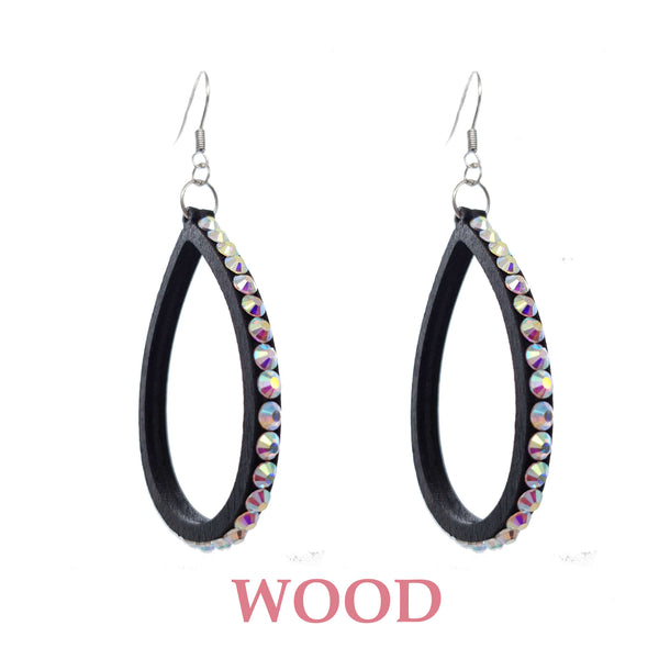J0181020D WOOD W/ BLING TEARDROP