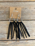 J011567 LEATHER TASSLE EARRINGS