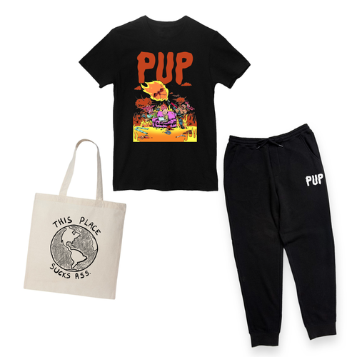 PUP THIS SHIRT SUCKS ASS T-SHIRT, TOTE, SWEATPANTS BUNDLE