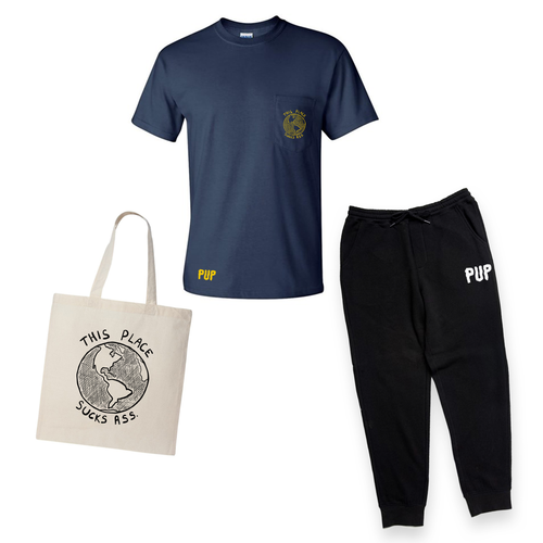 THIS PLACE SUCKS ASS EARTH POCKET NAVY T-SHIRT, TOTE, SWEATPANTS BUNDLE