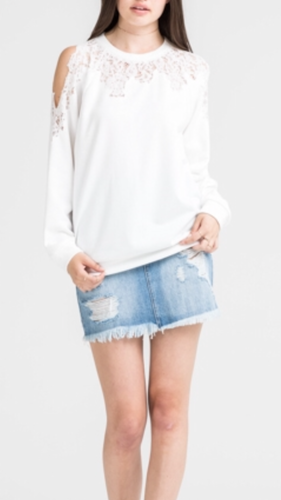 Lace Contrast Cold Shoulder Sweater-off White