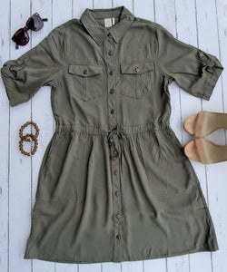 Tie-Waist Short-Sleeve Shirtdress