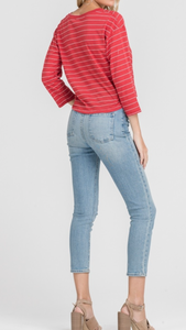 3/4 Sleeve Front Knot Red Striped Top