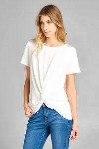 Short Sleeve With Front Knot Tee-Creme