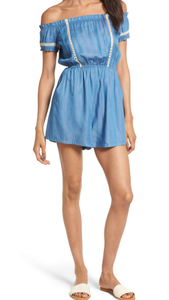 Chambray Off The Shoulder Romper-blue