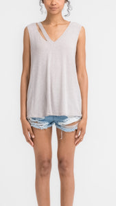 Cutout Neckline Sleeveless Top-Stone