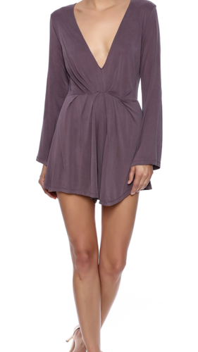 Poly Modal Long Sleeve Romper-Dusty Grape