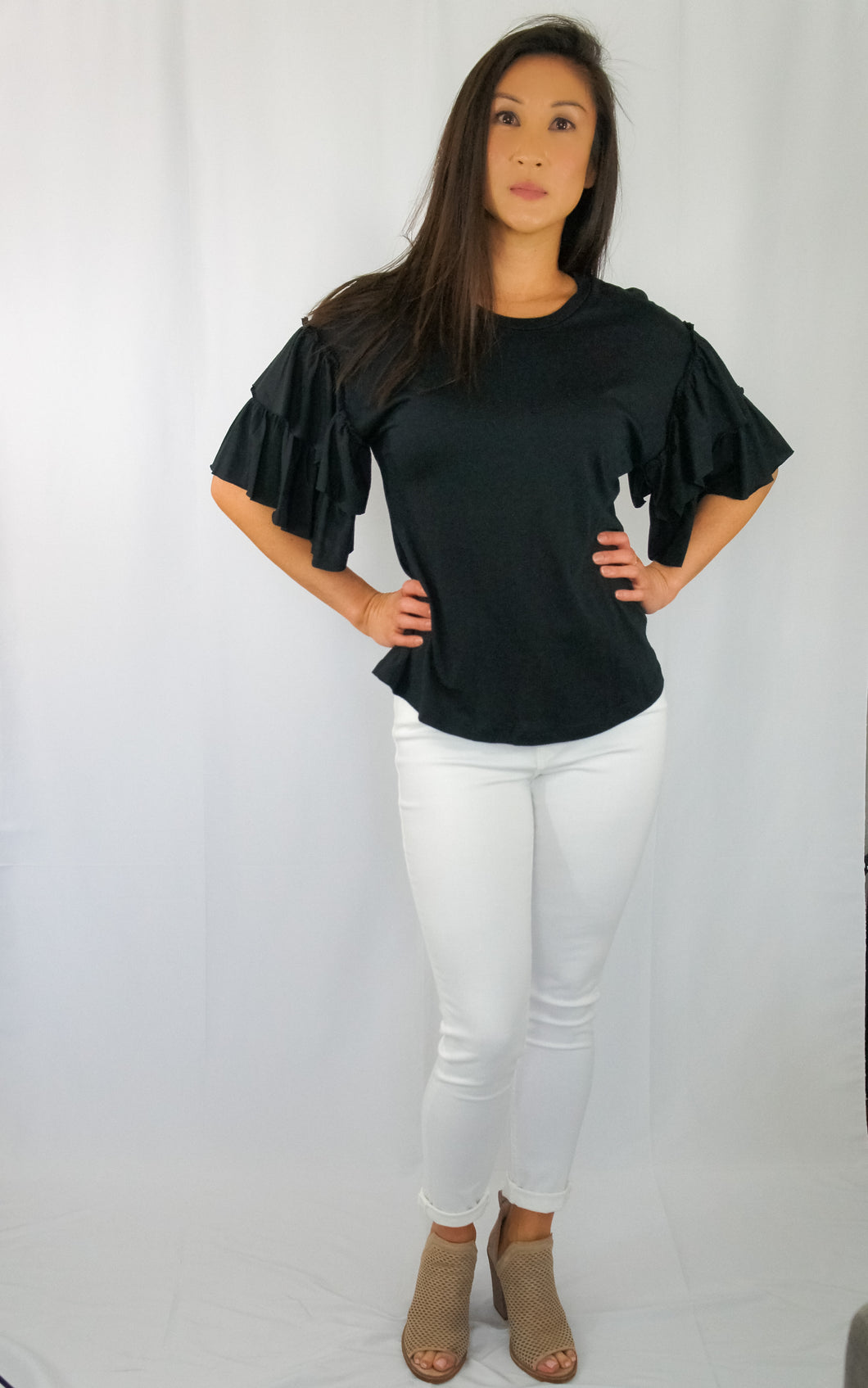 Knit Ruffle Sleeve Top-Black