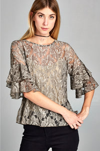 "3/4"" Sleeve Lace Top With Ruffle Sleeve"