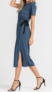 Tunnel Waist Knit Dress-Navy