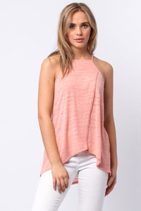 Sleeveless Slub Jersey Tank High Neck Strappy Peach