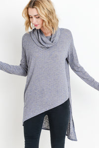Long Sleeve  Asymetrical Cowl Neck Top.