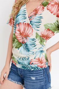 Leaf Print Crossover Button Top.