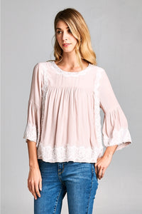 3/4 Sleeve Top With Lace Detail.