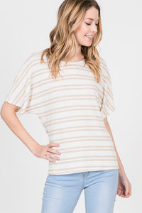 Double Striped Drop Shoulder Top With Back Tie