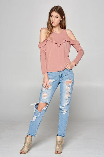 Ruffled Brushed Yoke Top