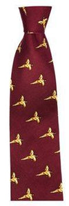 Hoggs of Fife Silk Country Tie Wine (Flying Game Birds)