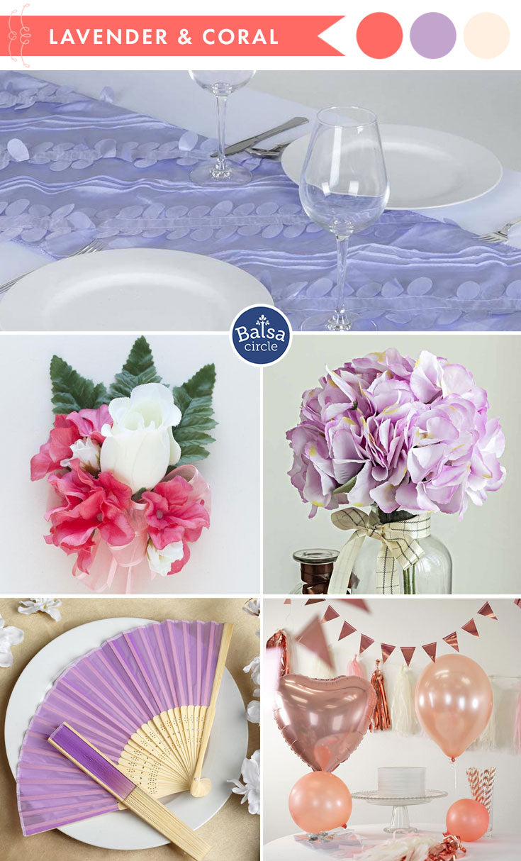 Living Coral and Lavender Wedding Colors - 2019 Color of the Year | BalsaCircle.com