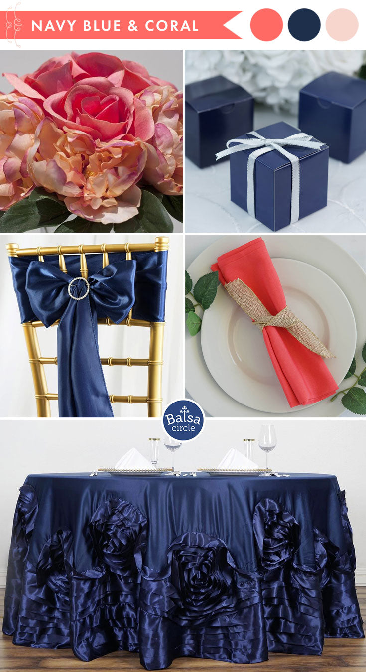 Living Coral and Navy Wedding Colors - 2019 Color of the Year | BalsaCircle.com
