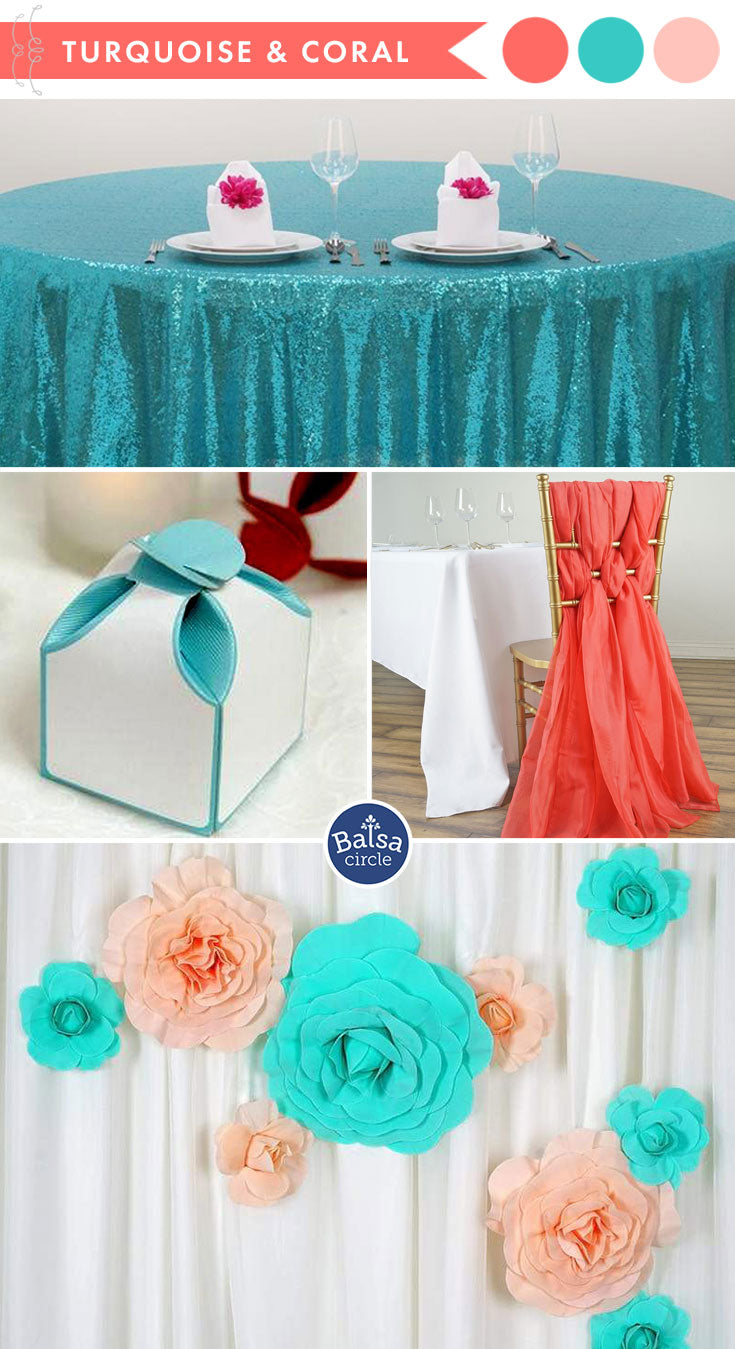 Living Coral and Turquoise Wedding Colors - 2019 Color of the Year | BalsaCircle.com