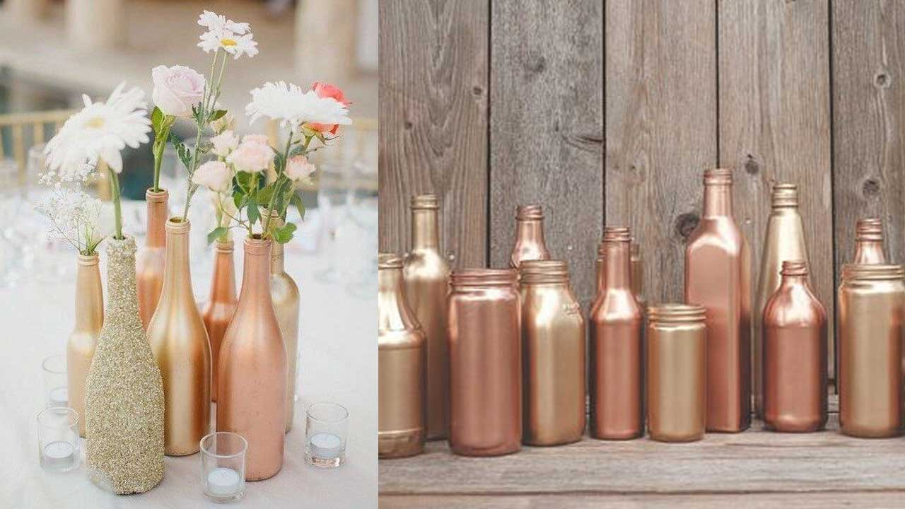 Inexpensive Centerpiece Ideas for your Party - Spray Painted Bottles | BalsaCircle.com