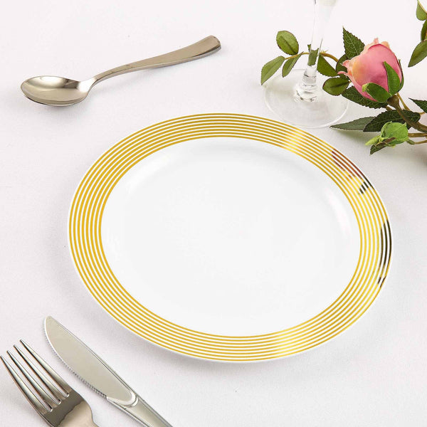 10 pcs 9 in. Disposable White Plastic Dinner Plates with Gold Striped Trim
