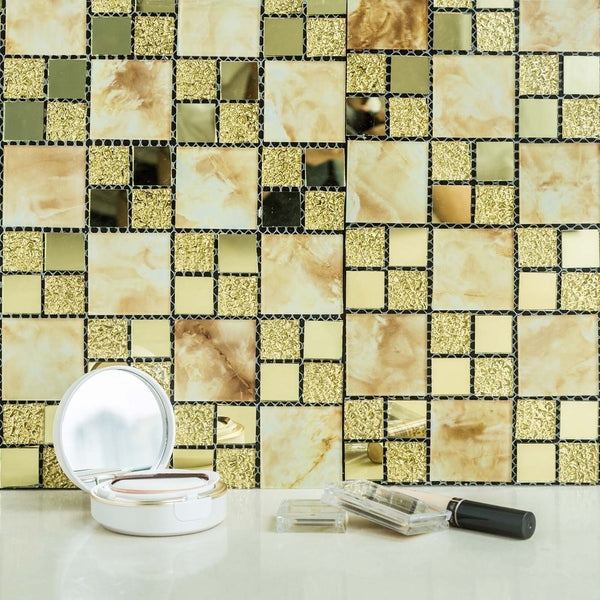 10 sq ft Gold Backsplash Marble and Glass Mosaic Peel and Stick Tiles Wall Panels