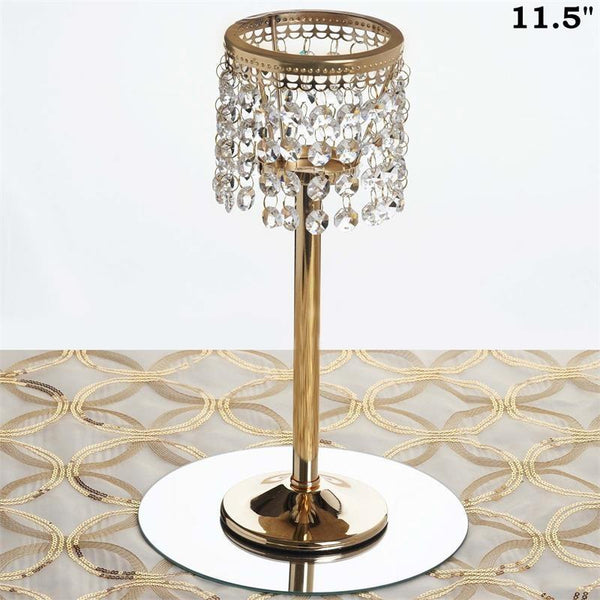 "Gold 11.5"" tall Faux Crystal Silver Candle Holder Centerpiece"